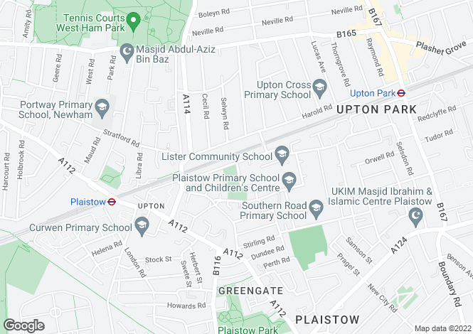 Map for Queens Road West, Plaistow, E13