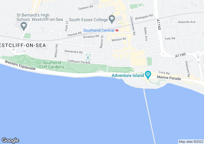 Map for Southend On Sea