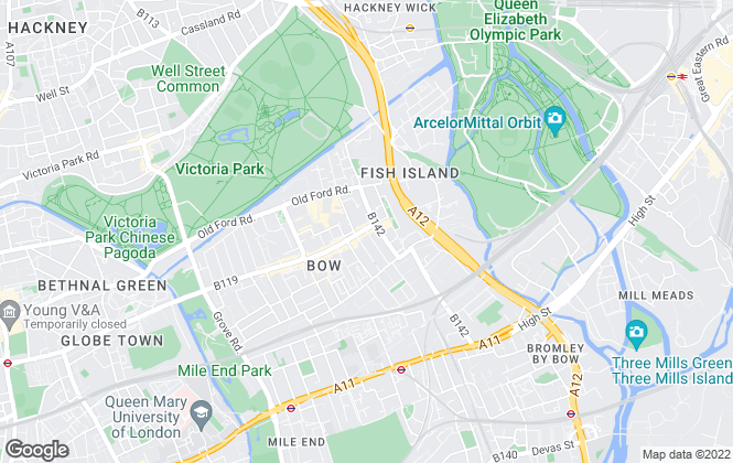 Map for Stephen James, Bow