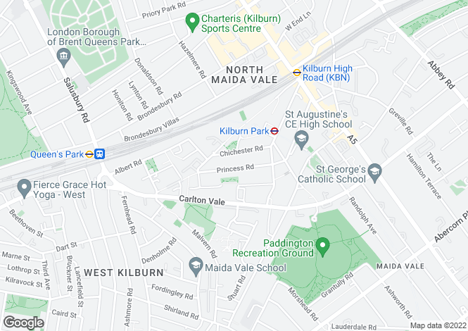 Map for Princess Road, Kilburn, London, NW6