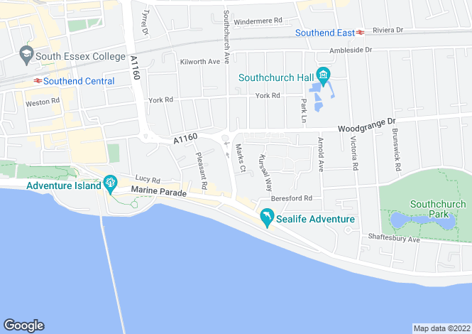 Map for Southchurch Avenue, Southend On Sea, Essex