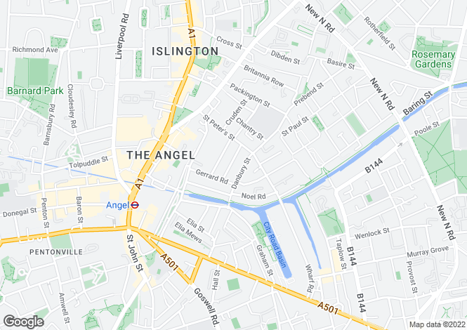 Map for Grantbridge Street, Islington, London, N1