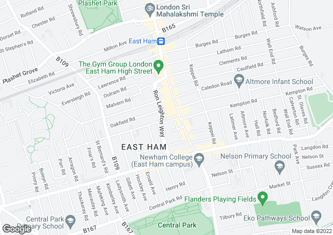 Map for Pilgrims Way, East Ham
