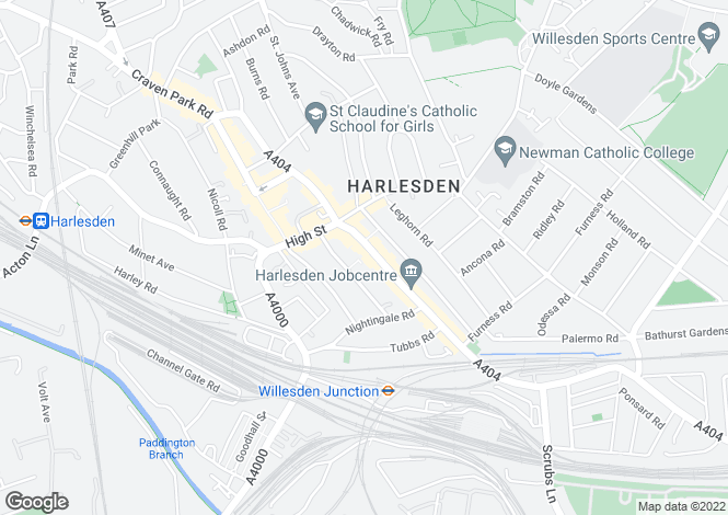 Map for High Street, Harlesden, London, NW10