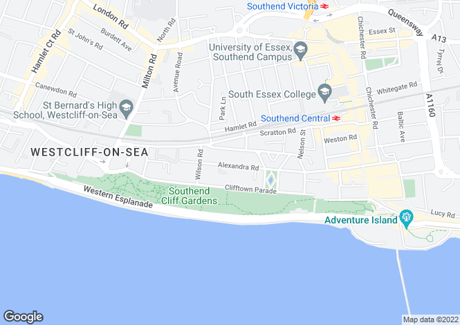 Map for Alexandra Road, Southend On Sea