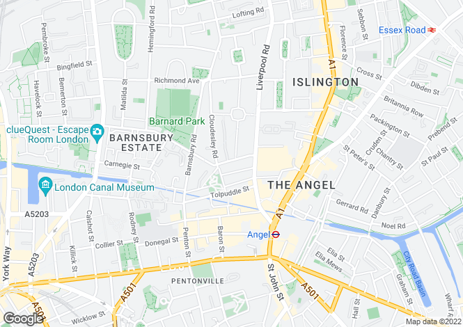 Map for Cloudesley Place, Angel, N1