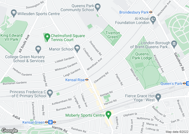 Map for Wrentham Avenue, Brondesbury Park, London, NW10