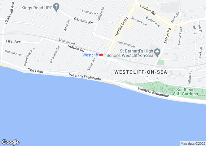 Map for Block A, Westcliff On Sea, Essex