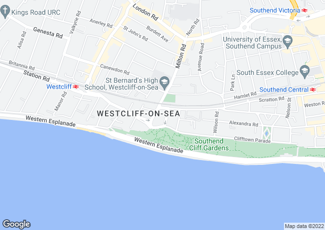 Map for Trinity Avenue, Westcliff On Sea, Essex