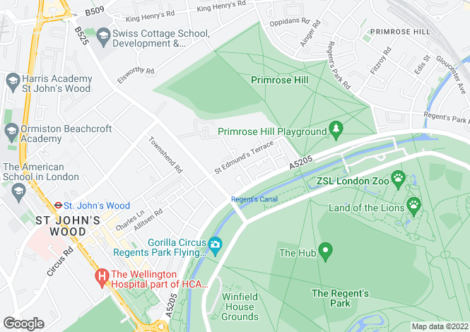 Map for St Edmunds Terrace, St John's Wood, London