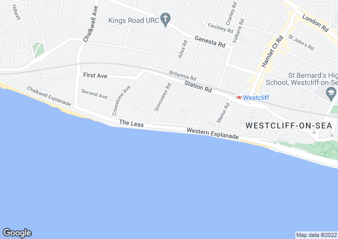 Map for The Leas, Westcliff-On-Sea, Essex