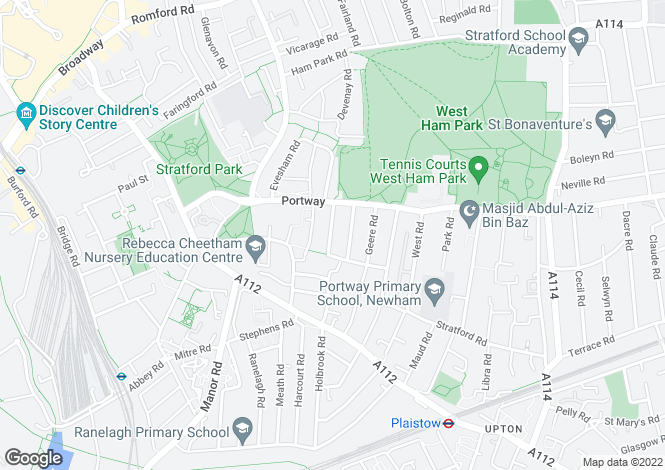 Map for Richford Road, Stratford, E15