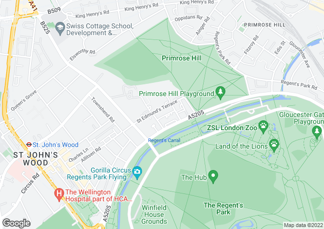 Map for St Edmunds Terrace, St John's Wood, London, NW8