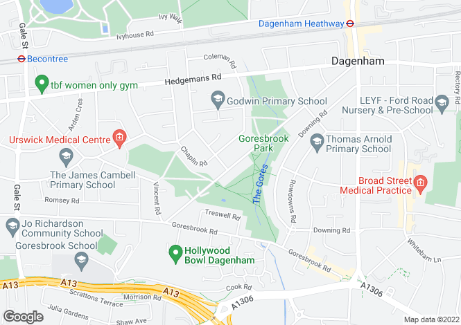 Map for Dagenham Avenue, Dagenham