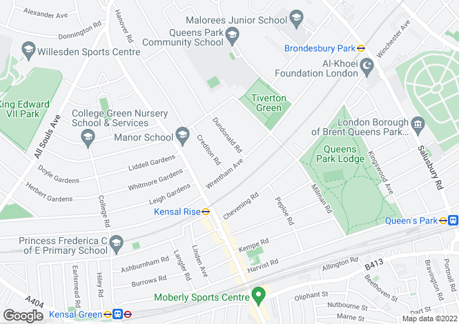 Map for Wrentham Avenue, Queen's Park