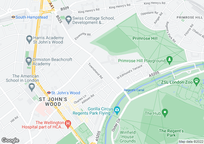 Map for Avenue Road, London. NW8