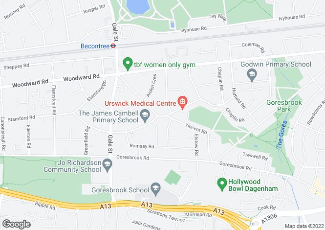 Map for Urswick Road, Dagenham, Essex, RM9