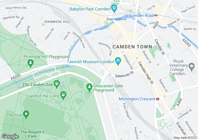 Map for Gloucester Avenue, Primrose Hill, Camden