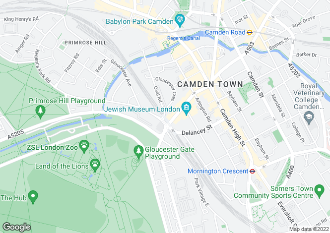 Map for Oval Road,Regents Park, NW1