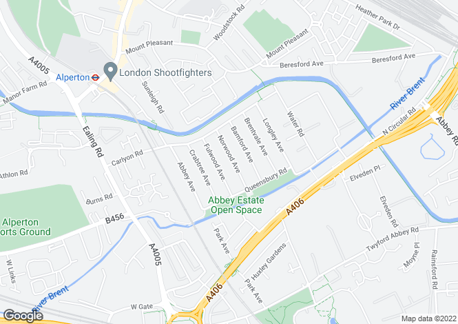 Map for Norwood Avenue, WEMBLEY, Middlesex