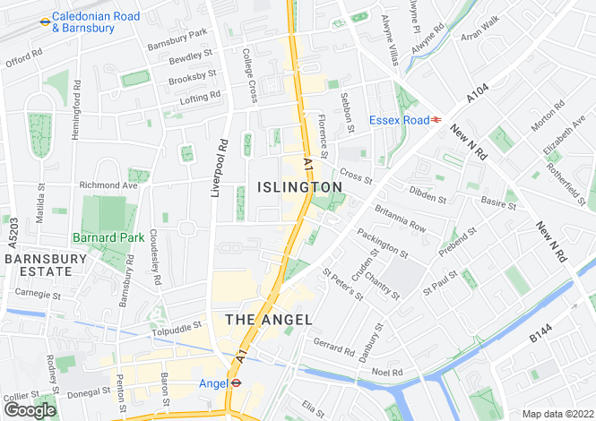 Map for Upper Street, Islington, N1