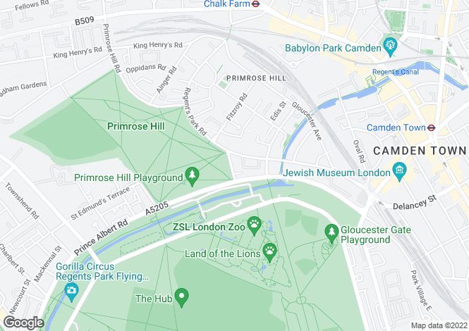 Map for Albert Terrace, Primrose Hill, NW1