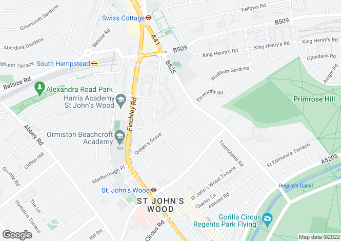 Map for Queens Grove, St John`s Wood, NW8