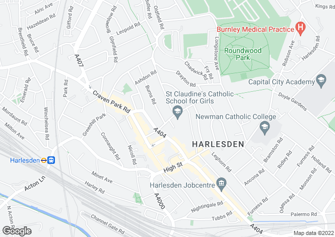 Map for Crownhill Road, Harlesden