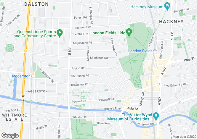 Map for Albion Drive, London, E8