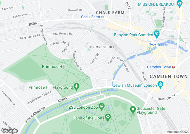 Map for Primrose Hill Studios, Primrose Hill, NW1