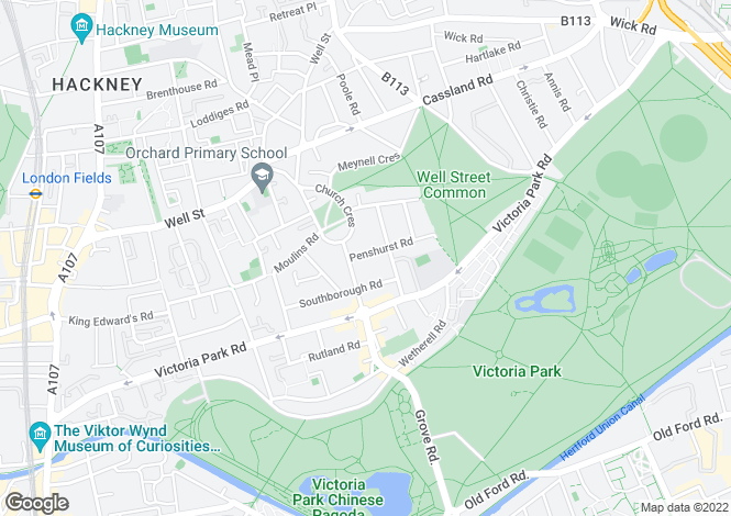 Map for Penshurst Road, Victoria Park E9