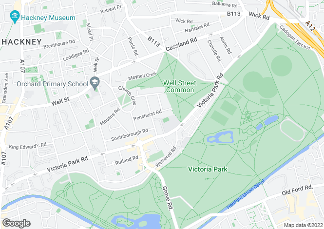 Map for Penshurst Road, Victoria Park