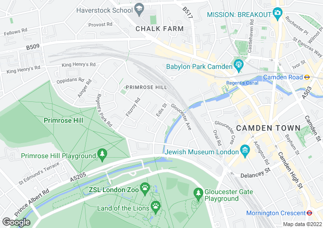 Map for Edis Street, Primrose Hill, London, NW1