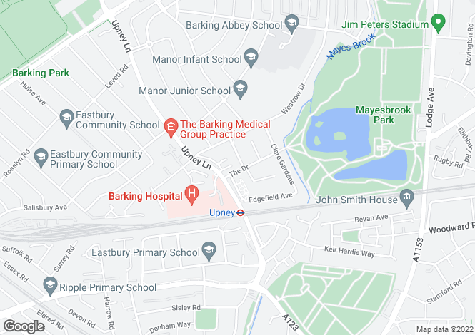 Map for The Drive, BARKING, Essex