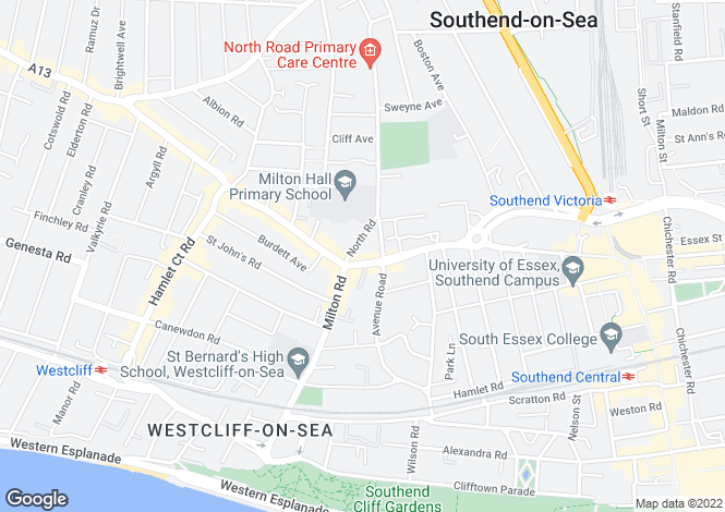 Map for London Road, Southend-on-Sea, Essex, SS1