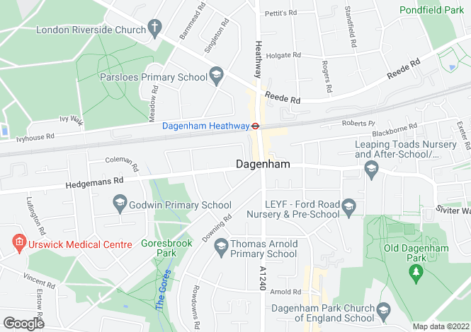 Map for Hedgemans Road, Dagenham Heathway, RM9