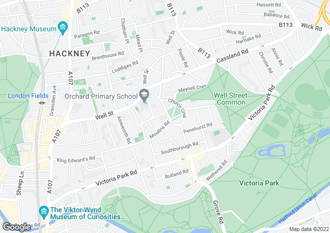 Map for Lauriston Road, Victoria Park, South Hackney, E9