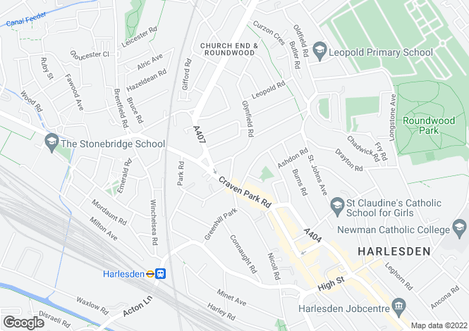 Map for St Thomas's Road, Harlesden, NW10