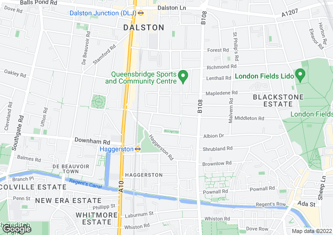 Map for Middleton Road, London Fields, E8