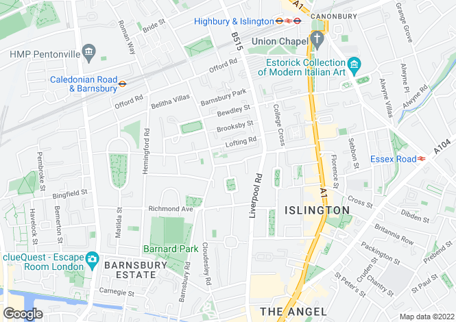 Map for Barnsbury Street, Angel