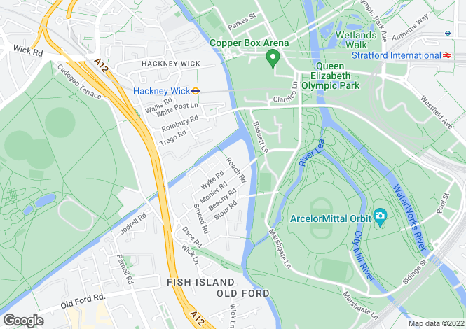 Map for Crown Wharf , Roach Road , HACKNEY WICK