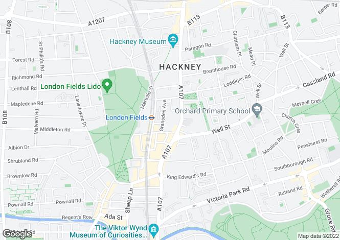 Map for Mare Street, Hackney, E8
