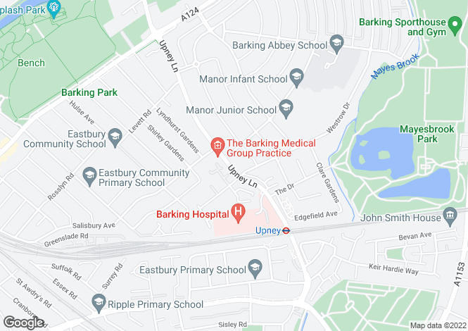 Map for Upney Lane, Barking, Essex, IG11