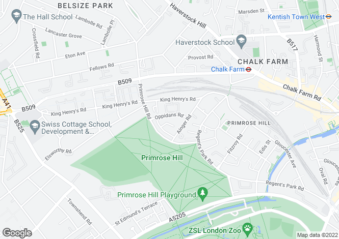 Map for Oppidans Road, Primrose Hill, NW3