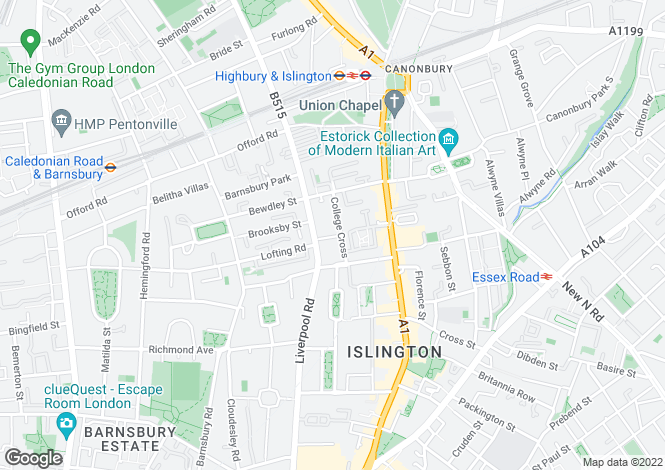 Map for College Cross, London, N1
