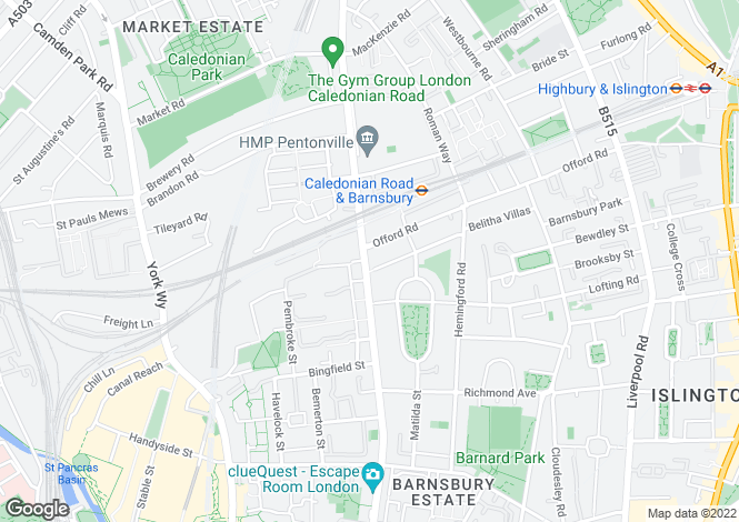 Map for Caledonian Road, Islington, London, N1