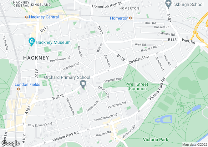 Map for Cassland Road, Victoria Park