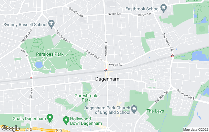 Map for Woollens, Dagenham