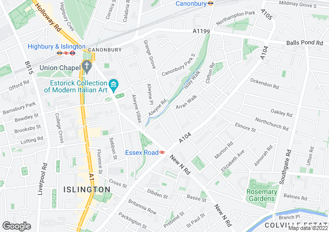 Map for Canonbury Grove, Islington, London N1