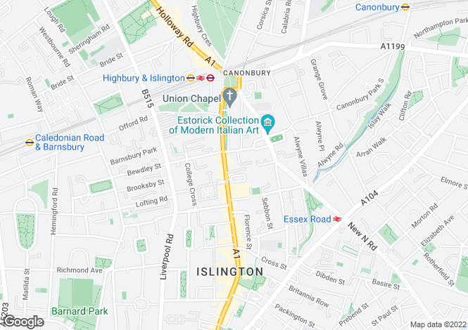 Map for Tyndale Terrace Islington N1